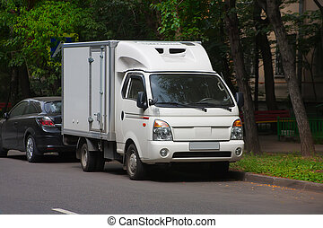 blanc, rue, camion