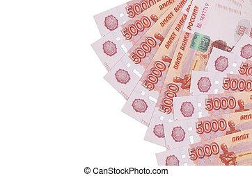 blanc, russe, riche, copie, conceptuel, vie, space., isolé, 5000, rubles, fond, mensonges, factures