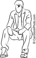 blanc, séance, arrière-plan., vecteur, illustration, homme