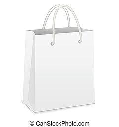 blanc, sac à provisions