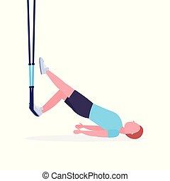 blanc, sain, fitness, séance entraînement, élastique, corde, fond, concept, cardio, type, suspension, crossfit, straps, entiers, plat, homme, longueur, sportif, exercices, gymnase, style de vie, formation