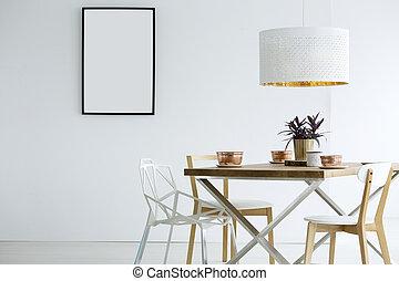 blanc, salle manger, intérieur