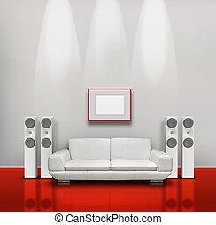 blanc, salle musique, rouges