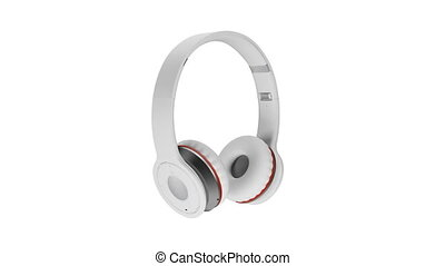 blanc, sans fil, écouteurs, isolé, blanc, fond, 3d, illustration, render