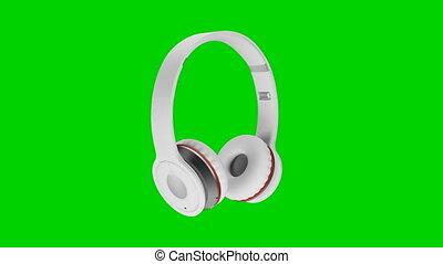 blanc, sans fil, écouteurs, isolé, sur, vert, écran, fond, 3d, illustration, render