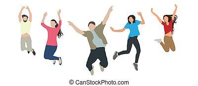 blanc, sauter, bonheur, vecteur, reussite, arrière-plan., gens, concept, etc., illustration, heureux, victoire, isolé