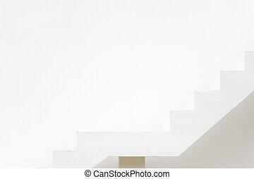 blanc, sentier, carrière, mur concret, fond, cible, viser, escalier, (concept, aspiration)