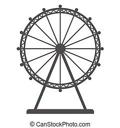 blanc, sideshow., parc, plat, roue, paquebot, isolé, arrière-plan., ferris, vecteur, silhouette, amusement, icône