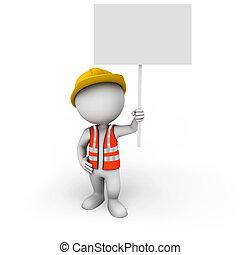 blanc, signe, ouvrier, 3d, gens