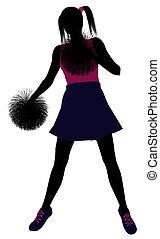 blanc, silhouette, fond, cheerleader