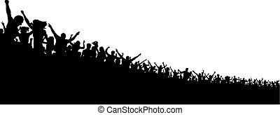 blanc, silhouette, fond, foule, gens
