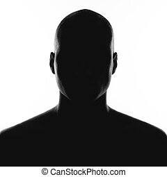 blanc, silhouette, fond, homme