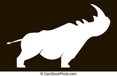 blanc, silhouette, rhinocéros
