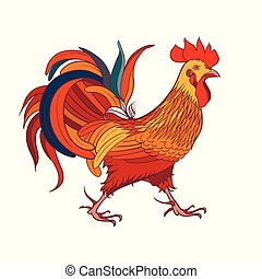 blanc, silhouette, rooster., fond