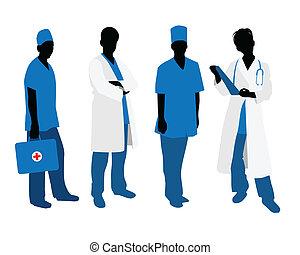 blanc, silhouettes, médecins