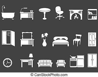 blanc, silhouettes, meubles