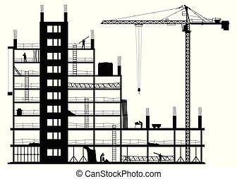 blanc, site construction, fond