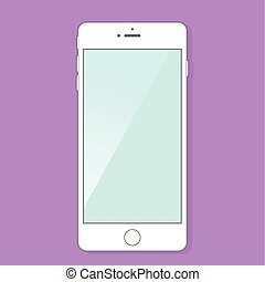 blanc, smartphone, écran, vide