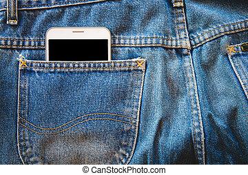 blanc, smartphone, dans, ton, poche, bleu, jeans., espace copy, fond