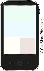 blanc, smartphone, noir, isolé, fond