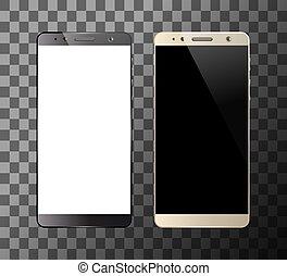 blanc, smartphones, noir