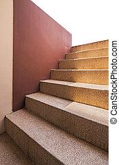 blanc, soleil, escalier, fond