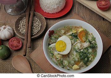 blanc, soto, poulet, riz, ou, indonésien, ayam, servi
