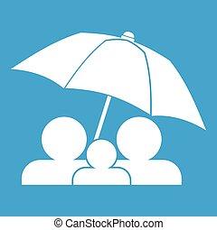 blanc, sous, parapluie, famille, icône