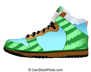 blanc, sport, chaussure, contre