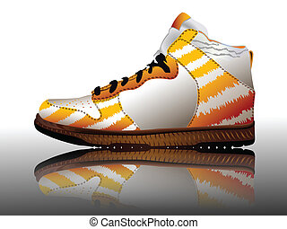 blanc, sport, chaussure, contre, reflété