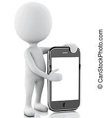 blanc, suivant,  3D,  smartphone, gens