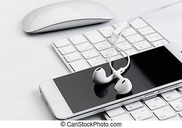 blanc, téléphone., écouteurs, clavier