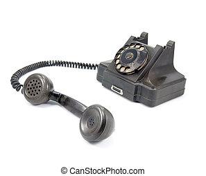 blanc, téléphone noir, fond, isolé