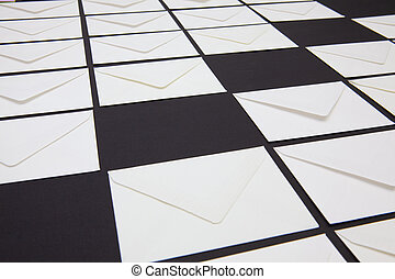 blanc, table., composition, enveloppes
