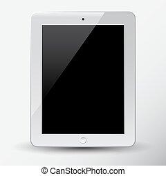blanc, tablette, pc.