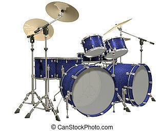 blanc, tambour, isolé, kit