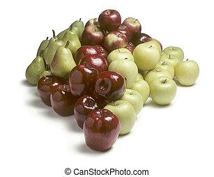 blanc, tas, pommes, poires