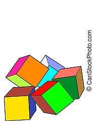 blanc, texte, gabarit, coloré, arrière-plan., cubes