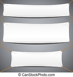 blanc, textile, banners., vecteur, publicité, gabarit