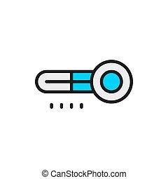 blanc, thermomètre, isolé, fond, ligne, plat, frigidaire, couleur, icon.
