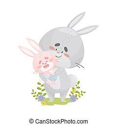 blanc, tient, sien, papa, arrière-plan., hare., peu, mains, illustration, lapin, vecteur
