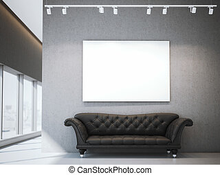blanc, toile, et, luxe, sofa, dans, moderne, interior., 3d, rendre