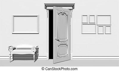 blanc, transition, canal, porte, alpha, ouverture