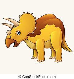 blanc, triceratops, dessin animé, fond