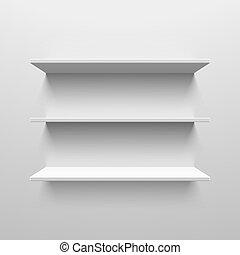 blanc, trois, étagères