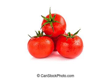 blanc, trois, tomates, isolé