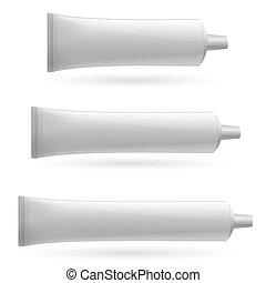 blanc, trois, tube