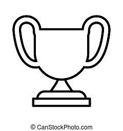 blanc, trophée, fond, silhouette