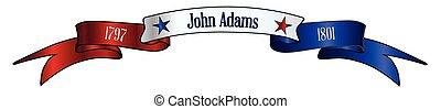 blanc, usa, john, rouges, bleu, adams, bannière, ruban