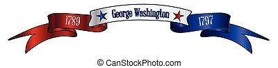 blanc, usa, rouges, bleu, george washington, bannière, ruban
